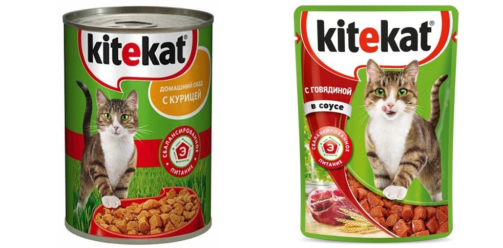 влажные корма Kitekat (консервы и пакетики)